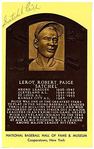 Satchel Paige Signed Autographed Hall of Fame Plaque Card JSA