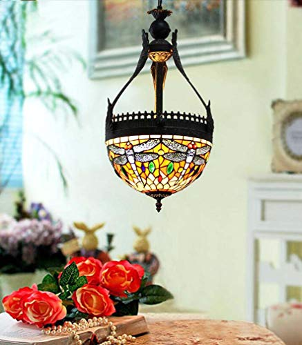 Tiffany Style Chandelier Lamp 12 Inch, Stained Glass Dragonfly Pattern Pendant Light Shade for Coffee Shop Western Restaurant Club Color Decorative Lights ()