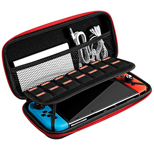 VicTsing Switch Carry Case for Nintendo Switch and Accessories, Portable Protective Carrying Pouch With Exterior EVA Hard Shell and Inner Soft Velvet, Travel Bag Games Case for Nintendo Switch Console