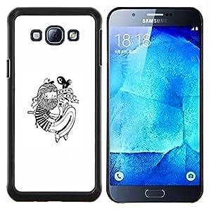 Qstar Arte & diseño plástico duro Fundas Cover Cubre Hard Case Cover para Samsung Galaxy A8 A8000 (Hipster Tatuaje)