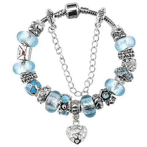 Birthday Gifts Ideas for Women 7.9 inch - Fit Pandora Charm Bracelet Birthday Gift Ideas March Birthstone Jewelry for $<!--$23.80-->