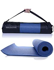 Masione Yoga Mat 6mm Thick Floor Exercise Mats Workout Fitness Pilates Blanket Anti-Tear and Non Slip Surface Cushioned Foam Camping Pad with Carry Bag