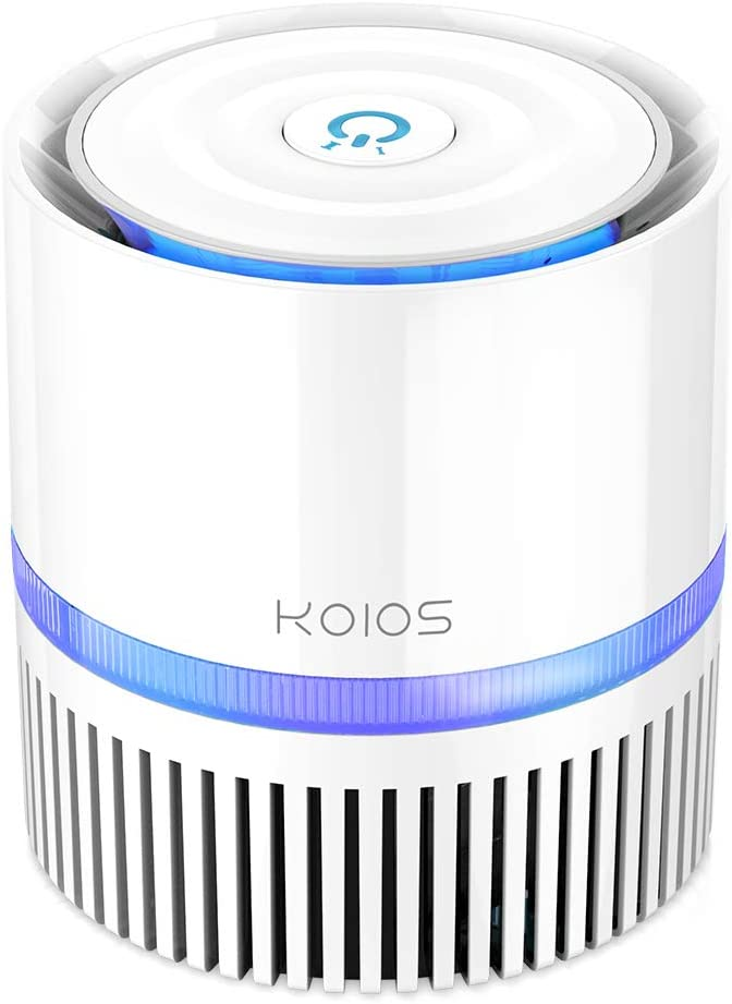 KOIOS Air Purifier, Desktop Air Cleaner with 3-in-1 True HEPA Filter for Home Bedroom Office, Table Air purifiers for Allergies and Pets,