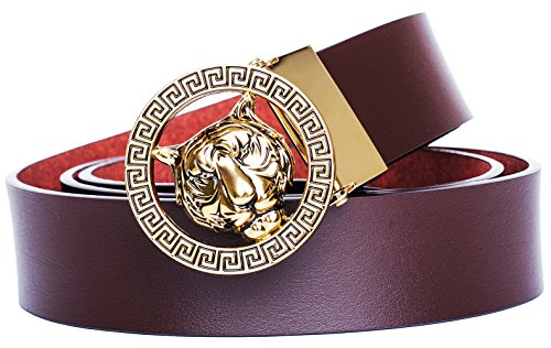 Buckle Designer (Old John Leather Men's Luxury Gold Tiger Buckle 35-mm Italian Leather Belt (110cm/43.3inch(37-39), Brown))