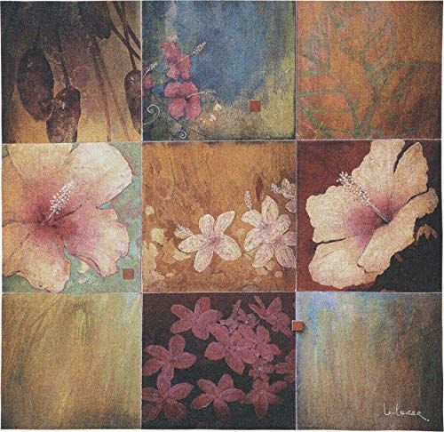 - Tropical Nine Patch II by Don Li-Leger   Woven Tapestry Wall Art Hanging   Abstract Tropical Floral Color Panels   100% Cotton USA Size 53x53
