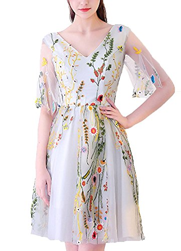 Illusion Prom Dreamdress Floral Embroidered Grey Dresses Short Sleeve DMDRS Women's wYUqpx00