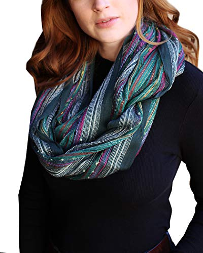 (Women's Shimmer Sparkle Infinity Scarf, Festival Bliss Lightweight Fashion Shawl (Festive Emerald Green))