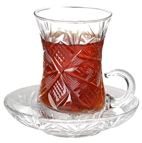 (Turkish Tea Glasses Set Top Quality Plated Crystal Stoned (Set of 6) (GOZ))