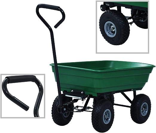 vidaXL Carrito de Mano Basculante de Transporte Trolley Mover Cosas de Jardín Carrillo Carro 300 kg 75 L Verde: Amazon.es: Jardín