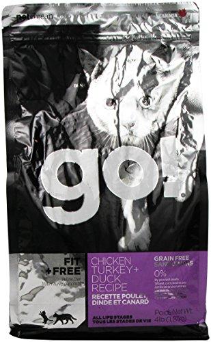 Petcurean GO! FIT + FREE Grain Free Chicken, Turkey, Duck Recipe CF Cat 4-Pound