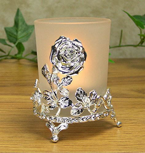 Victorian Rose Glass Votive Holder (Rose Votive Candle Holder - Silver Frosted Glass Candle Holder with Metal Rose Stand - Gift Boxed with Ribbon)