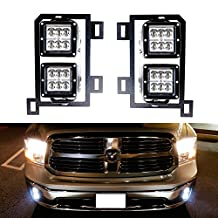 iJDMTOY (4) 24W High Power Dually 2x3 LED Pod Lights w/ Fog Lamp Location Mounting Brackets & Wiring Kit For 2013-up Dodge RAM 1500