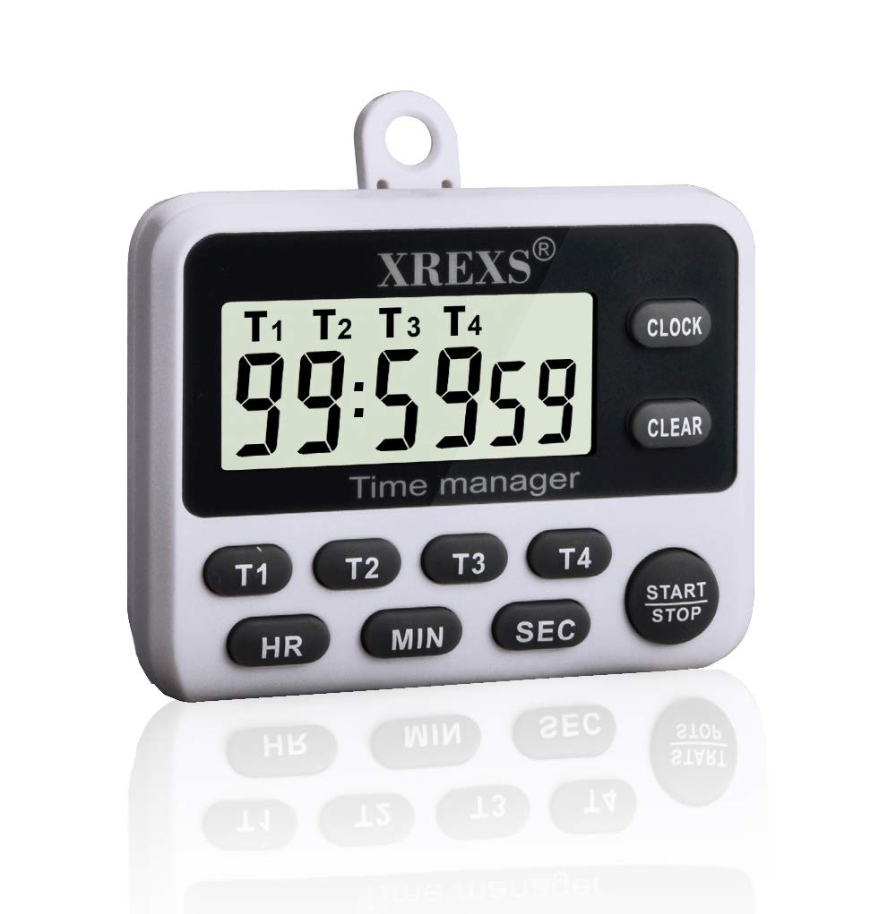 Digital Kitchen Cooking Timer Clock - XREXS Simultaneous Timing Countdown up Pocket Timer with Alarm Clock, Large LCD Display, Memory, Stopwatch Function, Magnetic Back (Battery Included)
