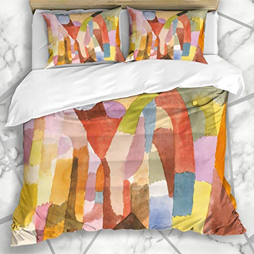 Ahawoso Duvet Cover Sets Queen/Full 90x90 Swiss Watercolor Movement Vaulted Chambers by Drawing Paul Klee 20Th Century Arches Design Edges Microfiber Bedding with 2 Pillow Shams