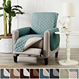 Home Fashion Designs Deluxe Reversible Quilted Furniture Protector and PET PROTECTOR. Two Fresh Looks in One. Perfect for Families with Pets and Kids. By Brand. (Recliner, Blue Silver)