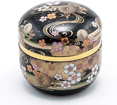 black sakura Japanese Tea Tin Double Lid Quality Metal Tin Japanese Pattern