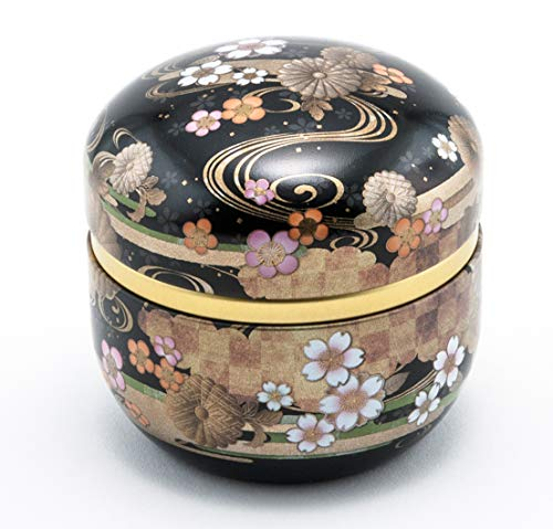 (Japanese Traditional Cherry Blossoms Sakura Design 100g Tea Canister Loose Tea Container Keep Dry Made In Japan (Black))
