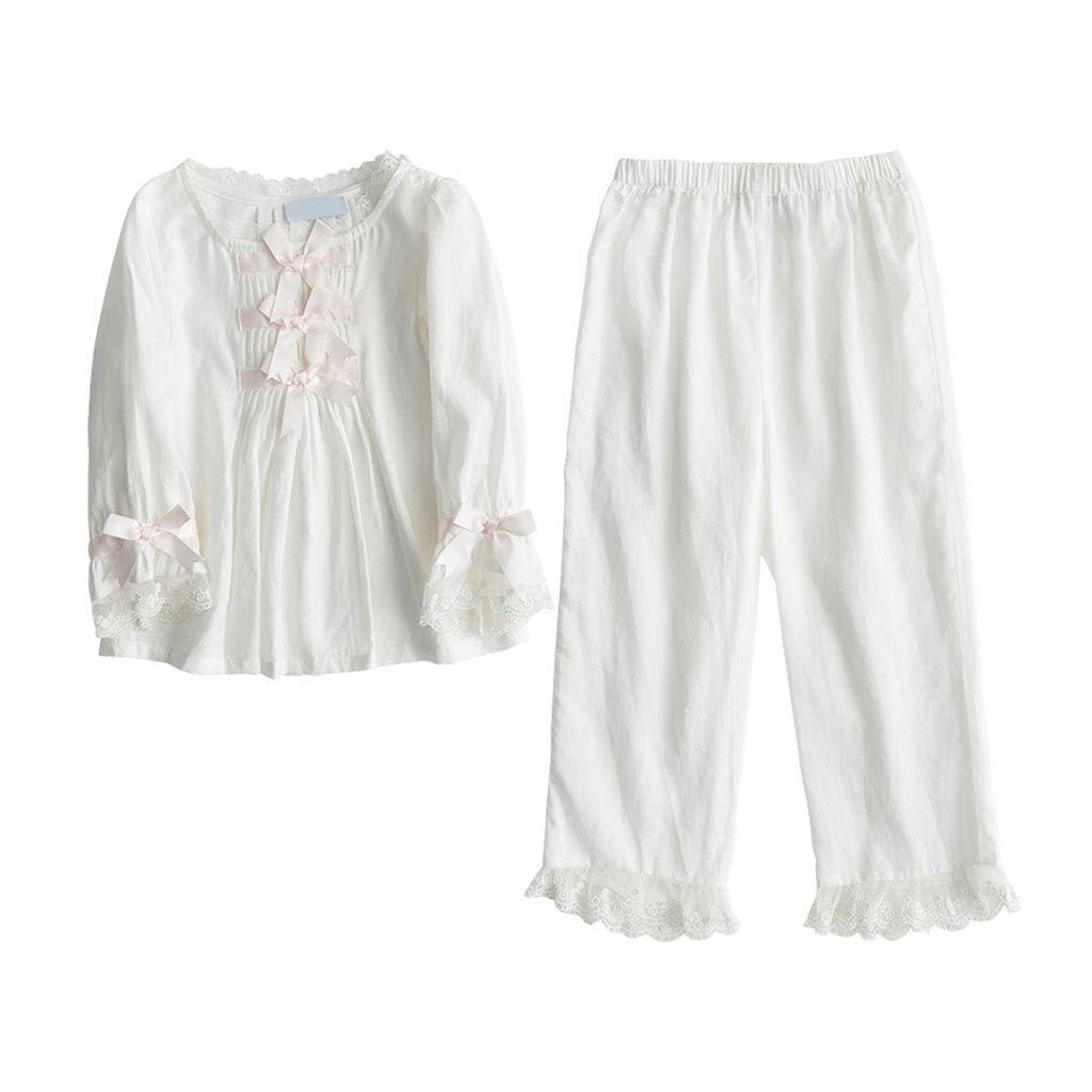 Blanc 120cm Pyjamas Enfants vêteHommests pour Enfants mis en Pyjama de Coton mis en Tribunal Quatre Saisons