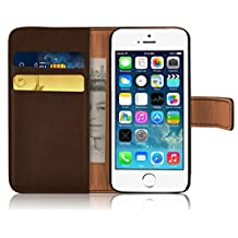 iPhone 5 Case - Retro Leather Wallet Flip Cover for the iPhone 5 / 5s / SE, Brown