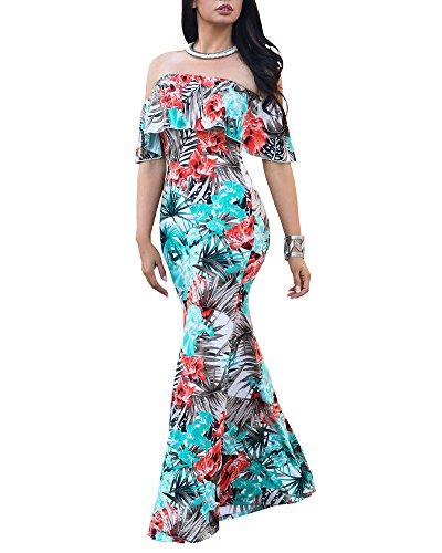 Bohemian Banchetto Stampa da Spiaggia Formale Off Donna Vestito Maxi chiaro Spalla Retro Azzurro Lungo Sera Abiti Sottile Floreale Dress Z01qRA4w