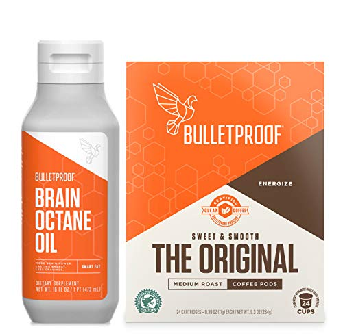 Bulletproof Original Coffee & Brain Octane MCT Oil Bundle - Perfect for Keto and Paleo Diet, 100% Non-GMO Gourmet Organic Beans, Responsibly Sourced Premium C8 Oil (Pods Kit)
