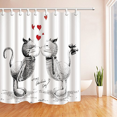 NYMB Love Decor Shower Curtains, Sketch Cats in Love for Happy Valentines Day Polyester Fabric Waterproof Bath Curtain, 69X70 in, Shower Curtain Hooks Included, Black White