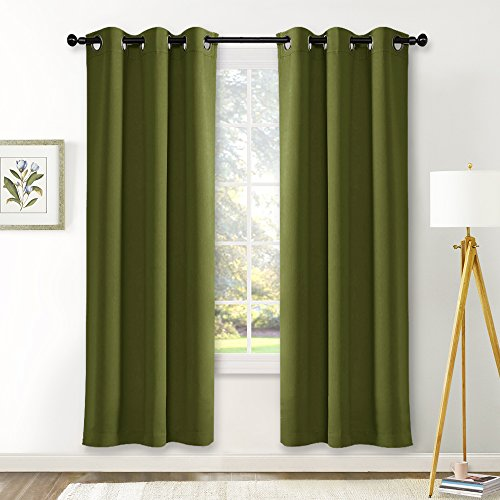 NICETOWN Living Room Blackout Window Curtains Thermal Insulated Solid Grommet Blackout Drapery Panels (One Pair,42 by 72-Inch,Olive Green) (Panel Window Thermal)