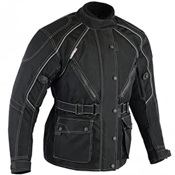 Bikers Gear Australia Ladies Waterproof Textile Jazz Jacket with Removable Liner and CE Armour (10) Black