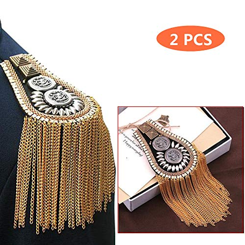 Tassel Chain Epaulet Shoulder Boards Badge Blazer Shoulder Epaulets Metal Beads Punk Fringe ()
