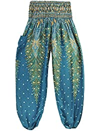 Thai Style Pants Green Summer Beach Bohemian High Waist Harem Loose Women Trousers