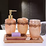 GTVERNH-Recipients Of The Gifts The Resin Bath Set Home Health Bathroom Vanity 6-Piece Newlyweds Wash Mouthwash Cup Kit