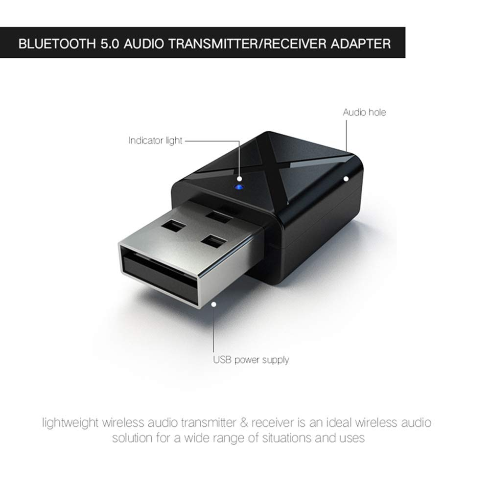 749a0604584 Amazon.com: xxiaoTHAWxe USB Bluetooth Transmitter Receiver, 2 in 1 USB  Bluetooth 5.0 Transmitter Receiver AUX Audio Adapter for TV/PC/Car:  Electronics