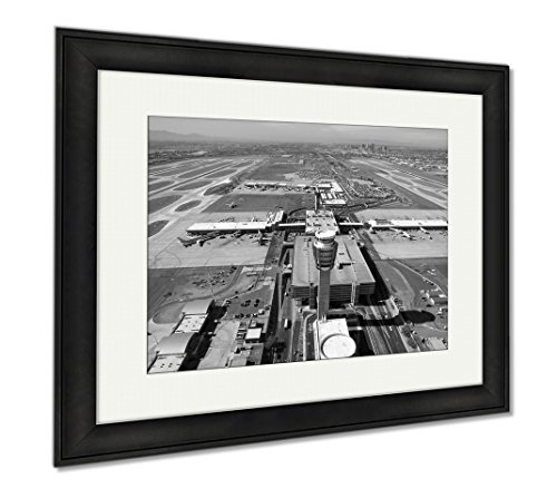 Ashley Framed Prints Sky Harbor Airport And Control Tower, Wall Art Home Decoration, Black/White, 26x30 (frame size), Black Frame, - Harbor Shops Sky Airport