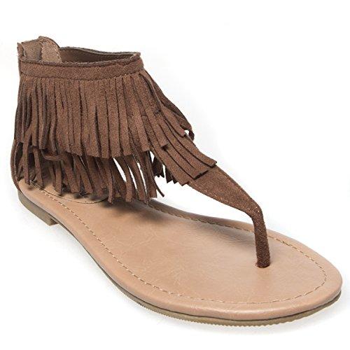 - V-Luxury Womens 20-Cesar Open Toe T Strap Fringe Thong Flat Sandal Shoes, Cognac Faux Suede, 9 B (M) US