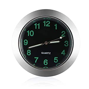 Car Dashboard Clock, ONEVER Small Round Analog Quartz Clock Charming Luminous Small Round Handheld Size Battery Operated Auto Clock Perfect Decoration for Cars, SUV and MPV