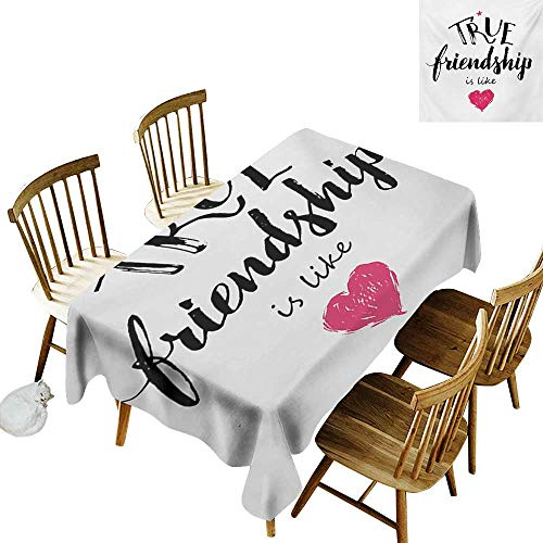 - Flower Tablecloth W54 x L72 Quote True Friendship is Like Lettering Completed by Pink Scribbled Heart Icon Black White and Pink Great for Traveling More
