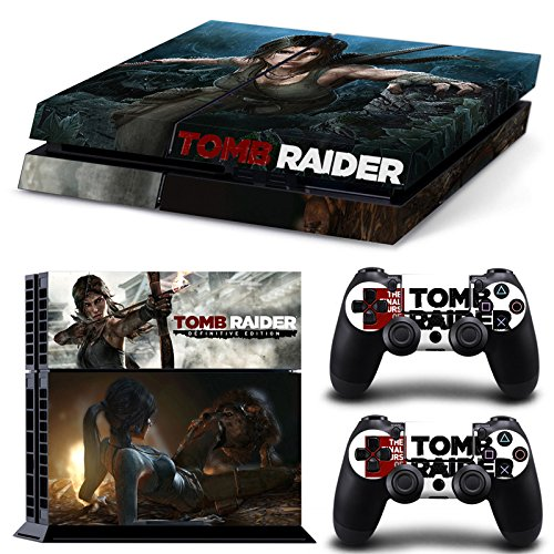 Ambur®Ps4 Console Designer Protective Vinyl Skin Decal Cover for Sony Playstation 4 & Remote Dualshock 4 Wireless Controller Stickers - ps4 skin tomb raider #6