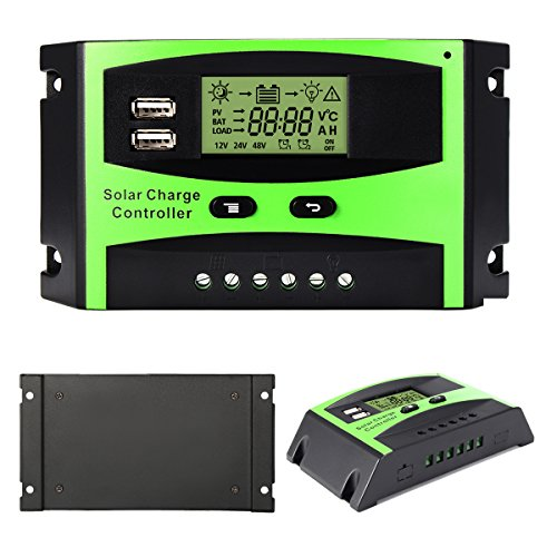 MOHOO 30A Solar Charge Controller Solar Panel Battery Intelligent Regulator with Dual USB Port PWM LCD Display 12V/24V by MOHOO