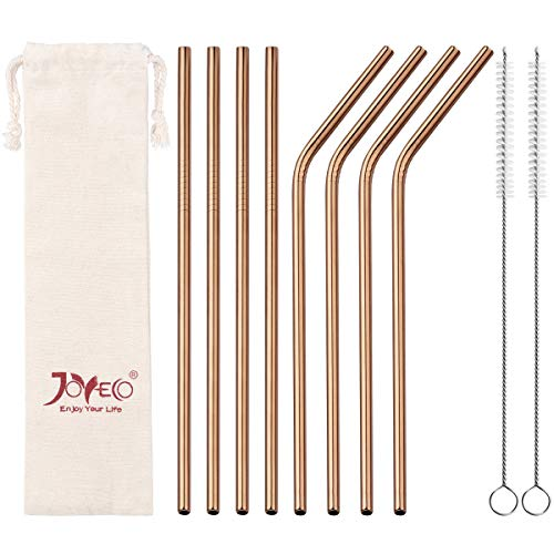 (JOYECO 8 Pcs Metal Straws Stainless Steel Drinking, FDA Standard Straws Reusable, 8.5 inches x 0.24 inches for 20 oz Tumblers Rumblers, Rose Copper)