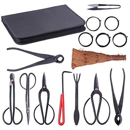 Koval Inc. 10 Pcs Bonsai Tool Kit Garden Tool Set with Bag (10)