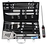 #8: ROMANTICIST 21pc BBQ Grill Accessories Set with Thermometer - Heavy Duty Stainless Steel Barbecue Grilling Utensils with Non-slip Handle in Aluminum Storage Case - Ideal Birthday Gift for Men