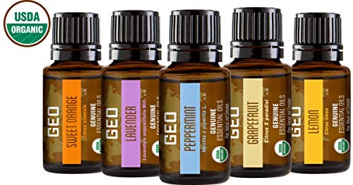 GEO Aromatherapy Organic Essential Oil 5 Set | Save $47 While Supplies Last | Sweet Orange, Lavender, Peppermint, Grapefruit, Lemon | 15 ml Bottles | Certified Organic by CCOF | Sold by GEO. ()