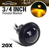 Partsam 20Pack 3/4'' Inch Mount Smoked Lens & Amber LED Clearance Markers, Side Marker Lights, led Marker Lights, led Side Marker Lights, led Trailer Marker Lights, Trailer Marker Light