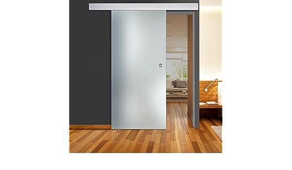 Puertas correderas de cristal zona llena mate QSS011 - ALU60 - 900 x 2050 mm vidrio izquierda DIN GM 8 mm con tirador de acero inoxidable al ras: Amazon.es: Bricolaje y herramientas