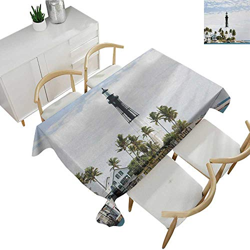 - United States,Tablecovers Rectangular Hillsboro Lighthouse Pompano Beach Florida Atlantic Ocean Palms Coast Table Cover for Outdoor and Indoor Blue White Green 70