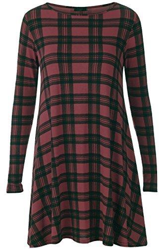 Vestido de manga larga para mujer, con estampado de leopardo, tallas 36-56 WINE TARTAN