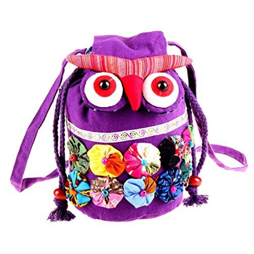 Binhee Toile Retro Mignon De Sacs Owl Mode Style Cartoon Femmes Violet Ethnique De Bag Messenger rBEwrqY