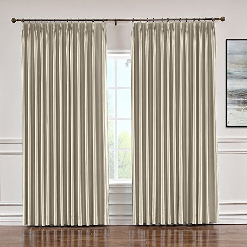 (Macochico 52 W x 84 L Faux Silk Curtains with White Lining Pinch Pleat Blackout Drapery Panel Traverse Rod Track, Living Room Bedroom Meetingroom Club Door, Beige (1 Panel))