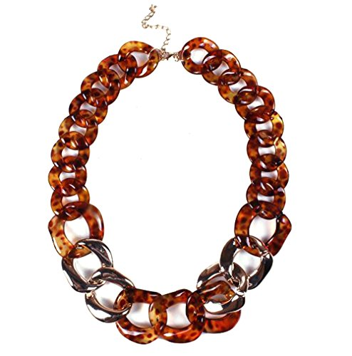 HoGadget Women Twist Chain Necklace Chunky Resin Statement Chain Jewelry (Brown)