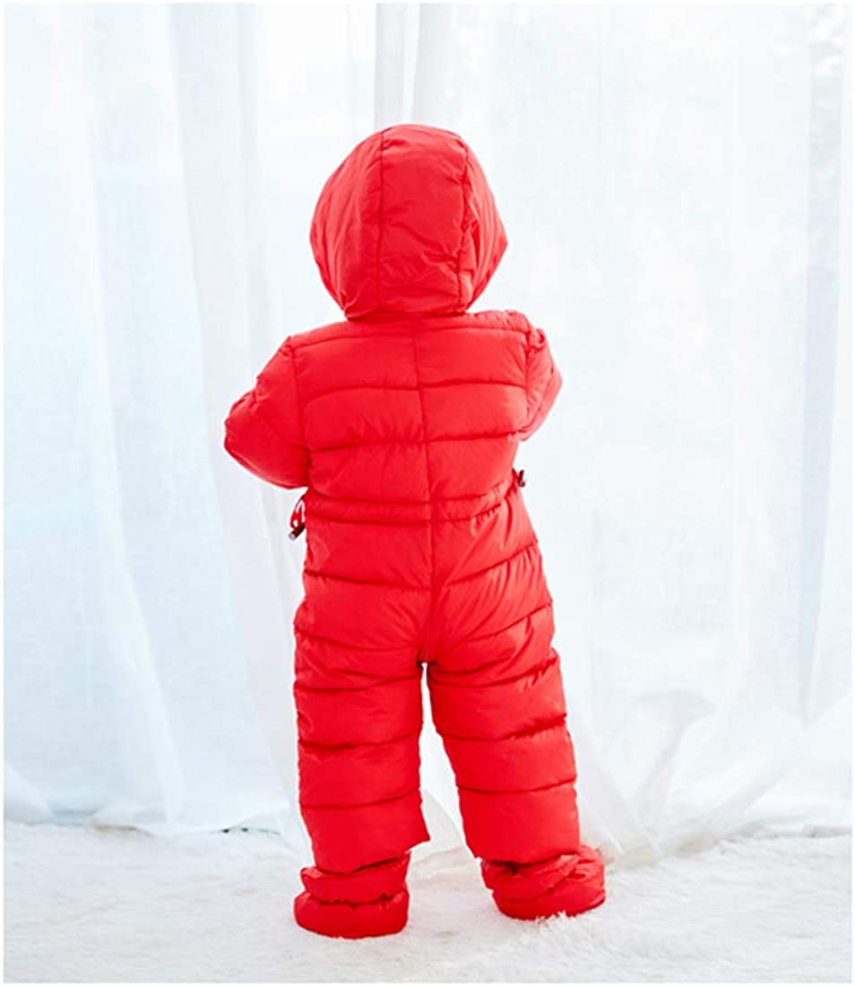 AIKSSOO Unisex Infant Baby Winter Outerwear Hooded Zipper Snowsuit with Feet Cover